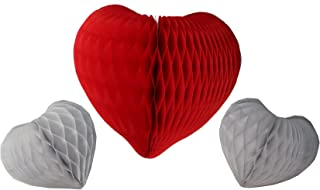 product image for Set of 3 Honeycomb Tissue Paper Valentine's Heart Decorations (Red/White)
