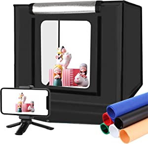 ALUCAX Photo Studio Light Box, 16inch/40cm Folding Portable Photography Light Tent Kit, Professional 30W 5500K White Light CRI95+ with 6 Color Backdrops + Tripod for Jewelry, Food, Shoes Photography