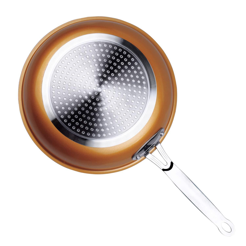 Sartén de Aluminio, Cobre Sartenes Master Copper, Antiadherentes con revestimiento de cerámica , para Todo Tipo de cocinas Incluido Inducción (28 cm): ...