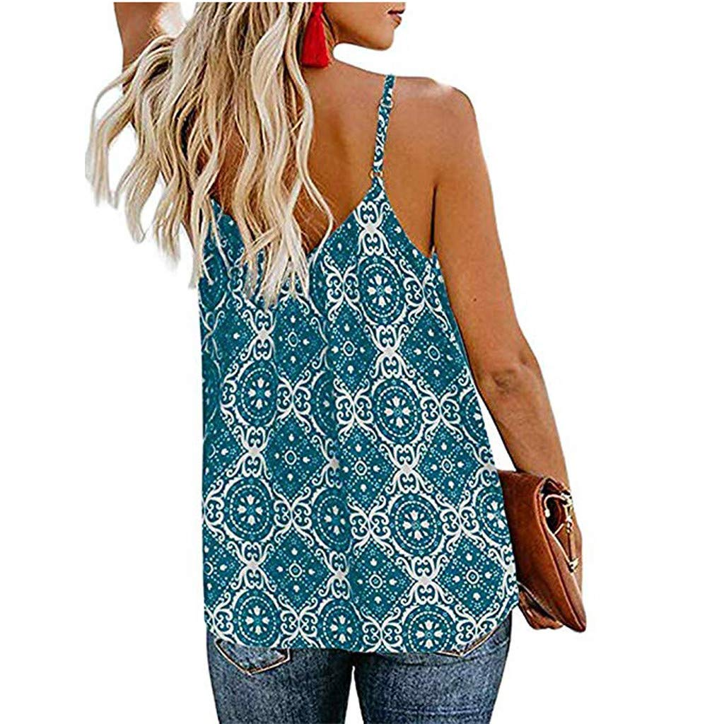 Keliay Womens Tops for Summer, Women Sling V Neck Sleeveless Strap Print Down Front Casual Loose Shirts Tops Green