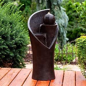 """BS Outdoor Modern Tiered Fountain Floor Water Fountain Cascading 32"""" Resin Pedestal and Ball Water Fountain Garden Patio Contemporary Zen Yard & eBook by BADA Shop"""