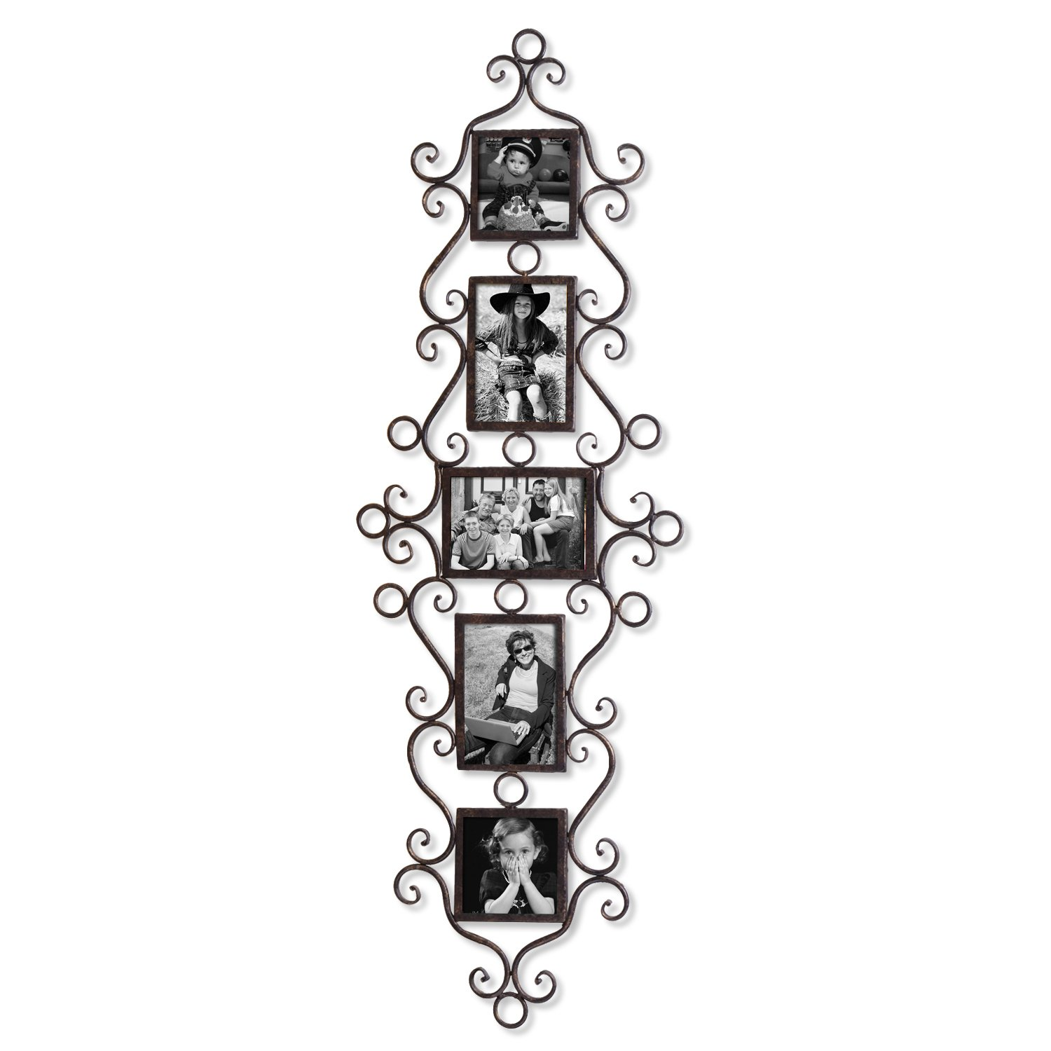 Adeco 5 Openings Decorative Black Metal Filigree Wall Hanging Collage Family Picture Photo Frame - Made to Display Three 4x6 and Two 4x4 Photos by Adeco