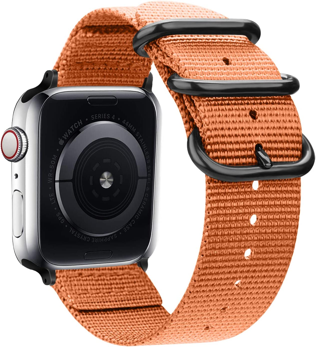 Misker nylon Band Compatible with Apple Watch Band 44mm 42mm 40mm 38mm, Lightweight Breathable Sport Wrist Strap with Metal Buckle Compatible with iwatch series 5/4/3/2/1 (Apricot orange, 42mm/44mm)