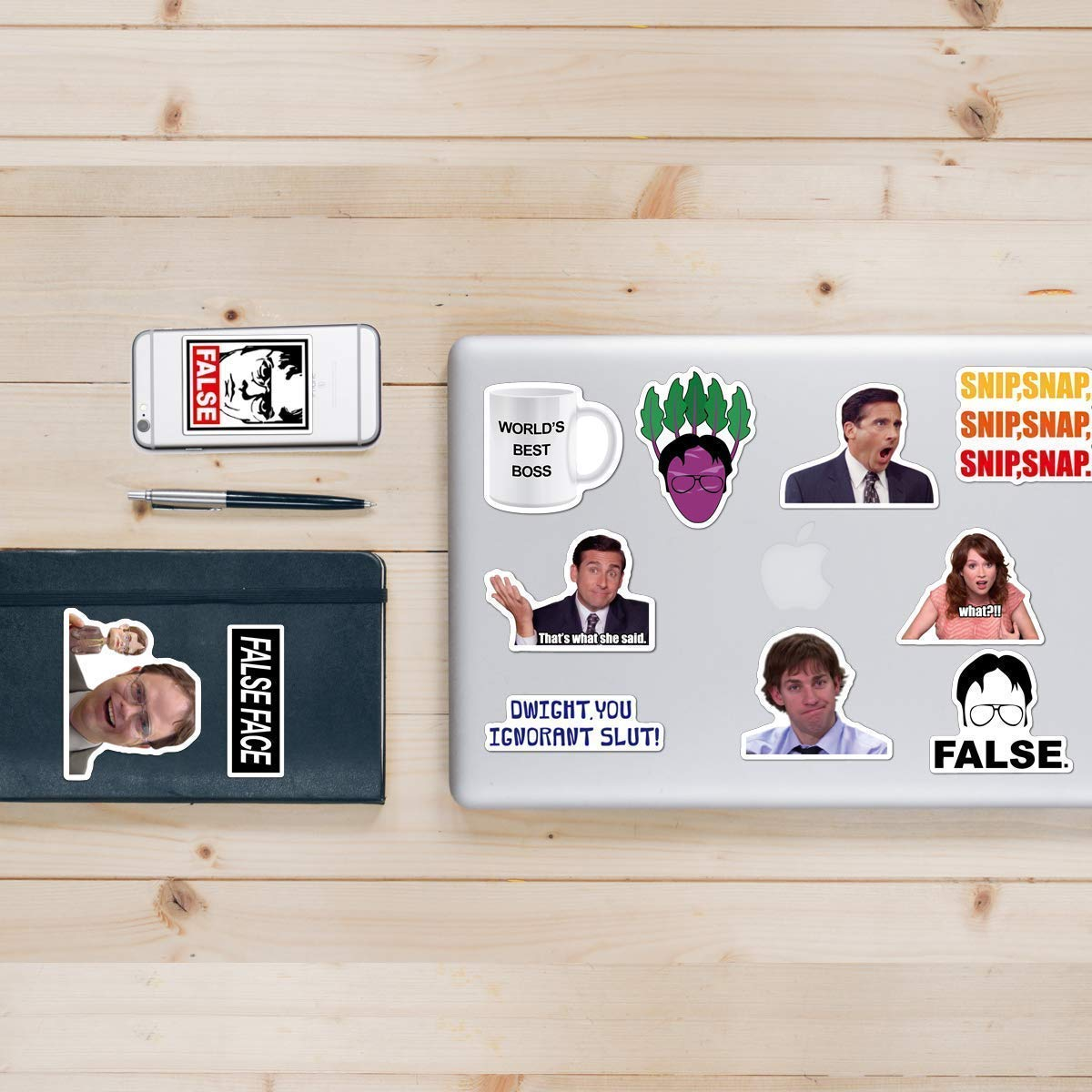 The Office Sticker Pack of 50 Stickers - Funny Waterproof Vinyl Stickers for Laptops, Hydro Flasks, Water Bottles, Computers, Phone