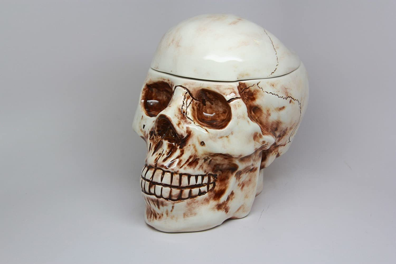 8 Inch Skeleton Skull Shaped Ceramic Cookie Jar Statue Figurine