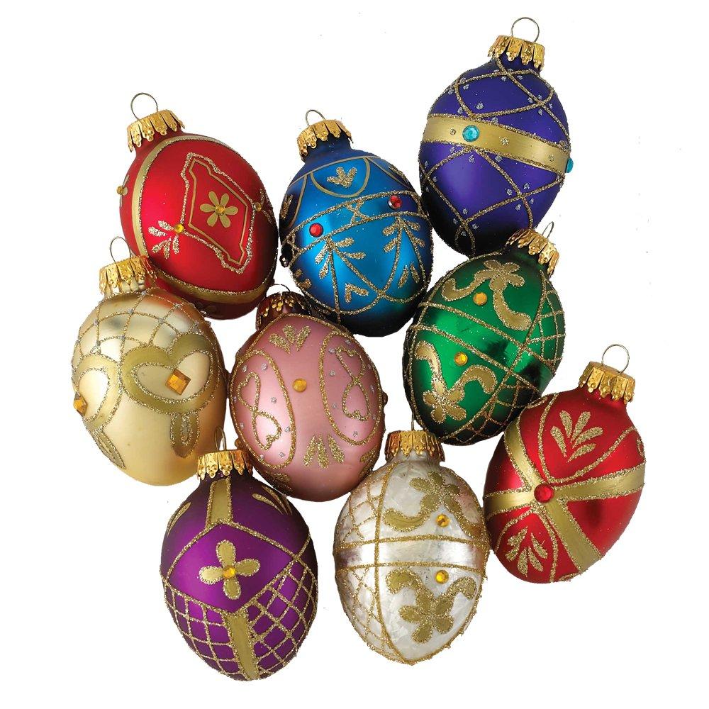 Amazon: Kurt Adler Glass Decorative Egg Ornament, 45mm, Set Of 9: Home  & Kitchen