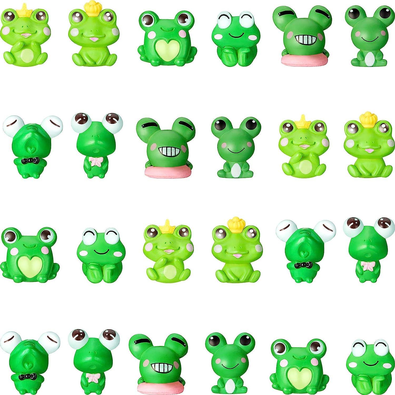 Cute Frog Miniature Figurines Mini Garden Frog Ornaments Animals Model Fairy Garden Miniature Moss Landscape DIY Craft for Home Party Decoration Supplies (24 Pieces)