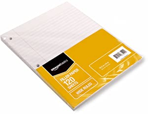 "AmazonBasics Wide Ruled Loose Leaf Filler Paper, 120-Sheet, 10.5"" x 8"", 6-Pack"