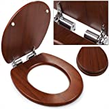 Adult Toilet Seat with Slow Close with Stainless Hinges D-Shape Brown