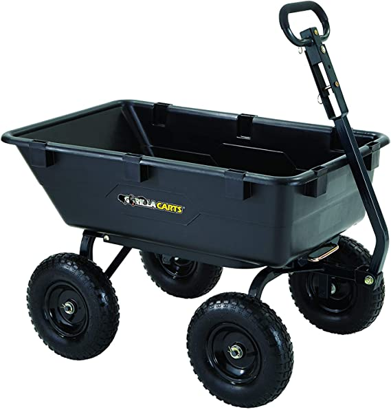 Gorilla Carts GOR6PS Heavy-Duty Poly Yard Dump Cart with 2-In-1 Convertible Handle