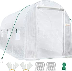 KING BIRD 10x6.6x6.6FT Upgraded Large Walk-in Greenhouse Heavy Duty Galvanized Steel Frame 2 Zippered Screen Doors 6 Screen Windows Tunnel Garden Plant Hot Green House 18 Stakes 4 Ropes 2 Gloves White