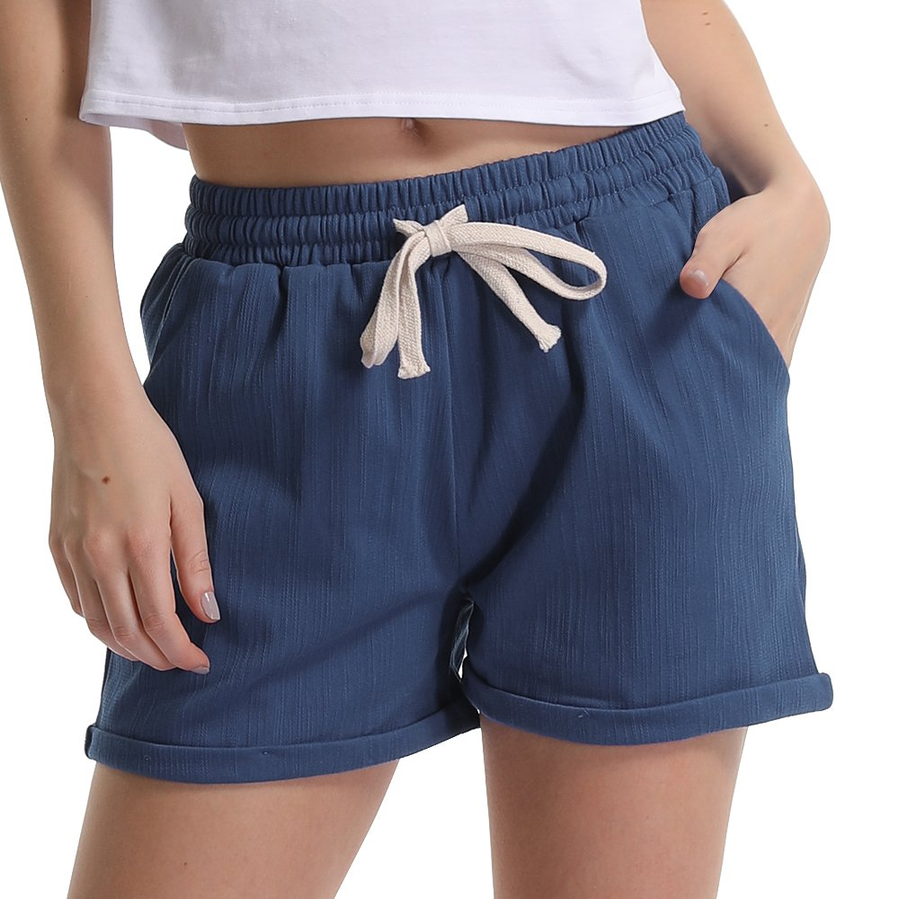 Women's Elastic Waist Cotton Linen Casual Beach Shorts with Drawstring Chambray Tag L-US 4-6