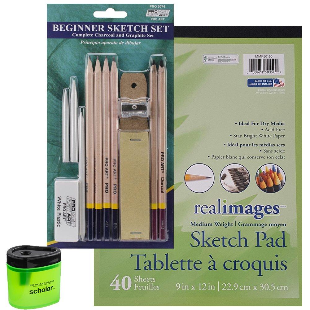 Pro Art Beginner Pencil Sketch Set, 40 Sheet Sketch Pad and Prismacolor Pencil Sharpener (Bundle of 3 Items) Pro Art Pacon 4336945736