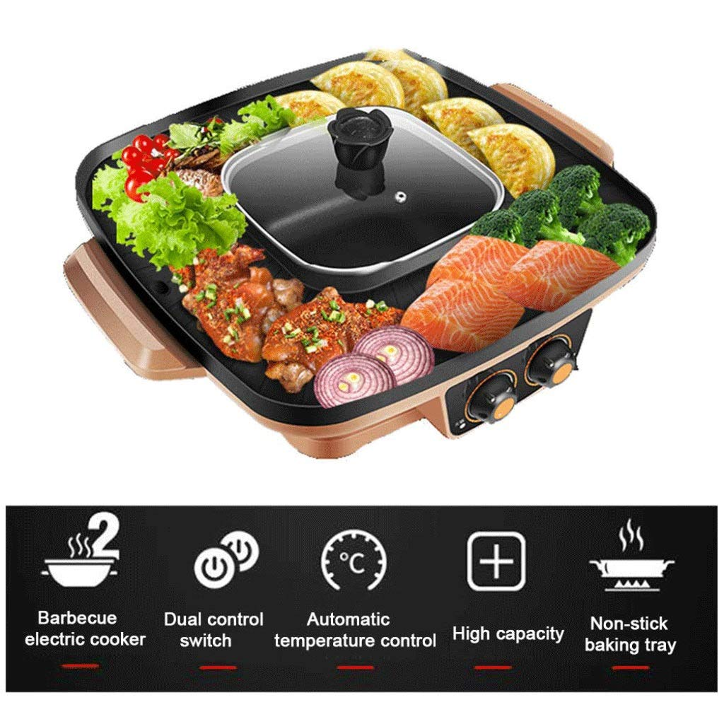 WSJTT Electric Shabu Shabu Hot Pot with Non-Stick Coating Electric Hot Pot 1000W 220V Electric Grill,Multifunction Two-in-one Electric Smokeless Non-Stick Barbecue Grilled Shabu-shabu Electric Baking
