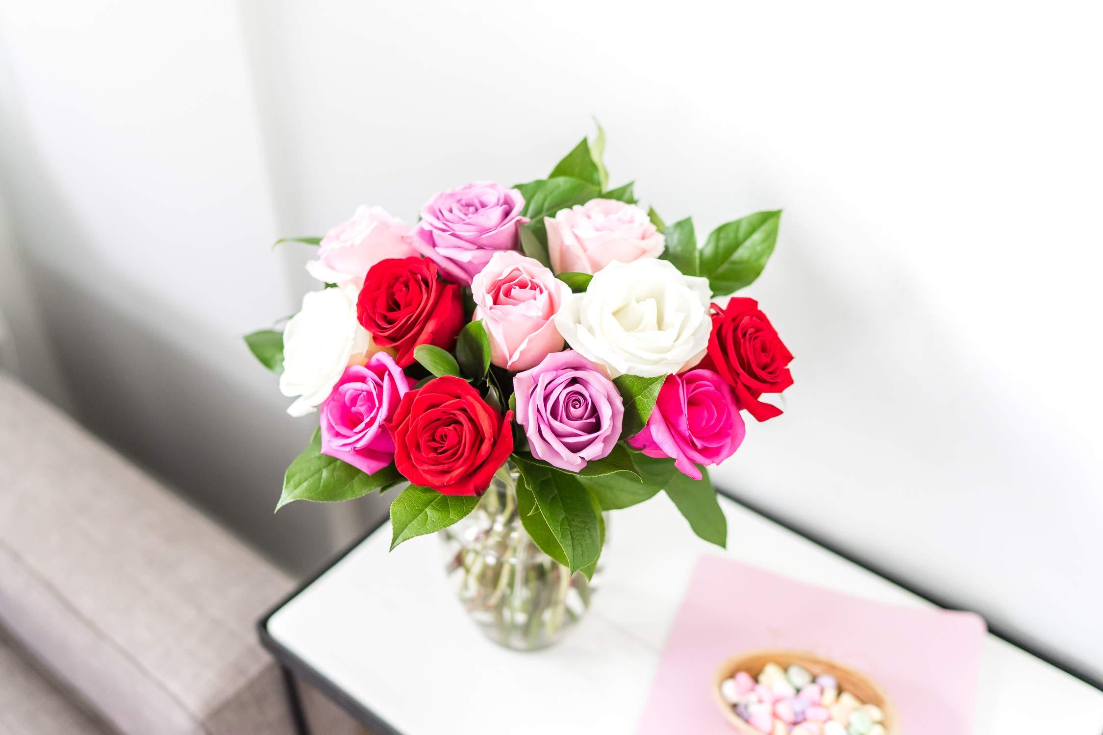 Flowers - One Dozen Assorted Sweetheart Roses with Godiva & Bear (Free Vase Included)