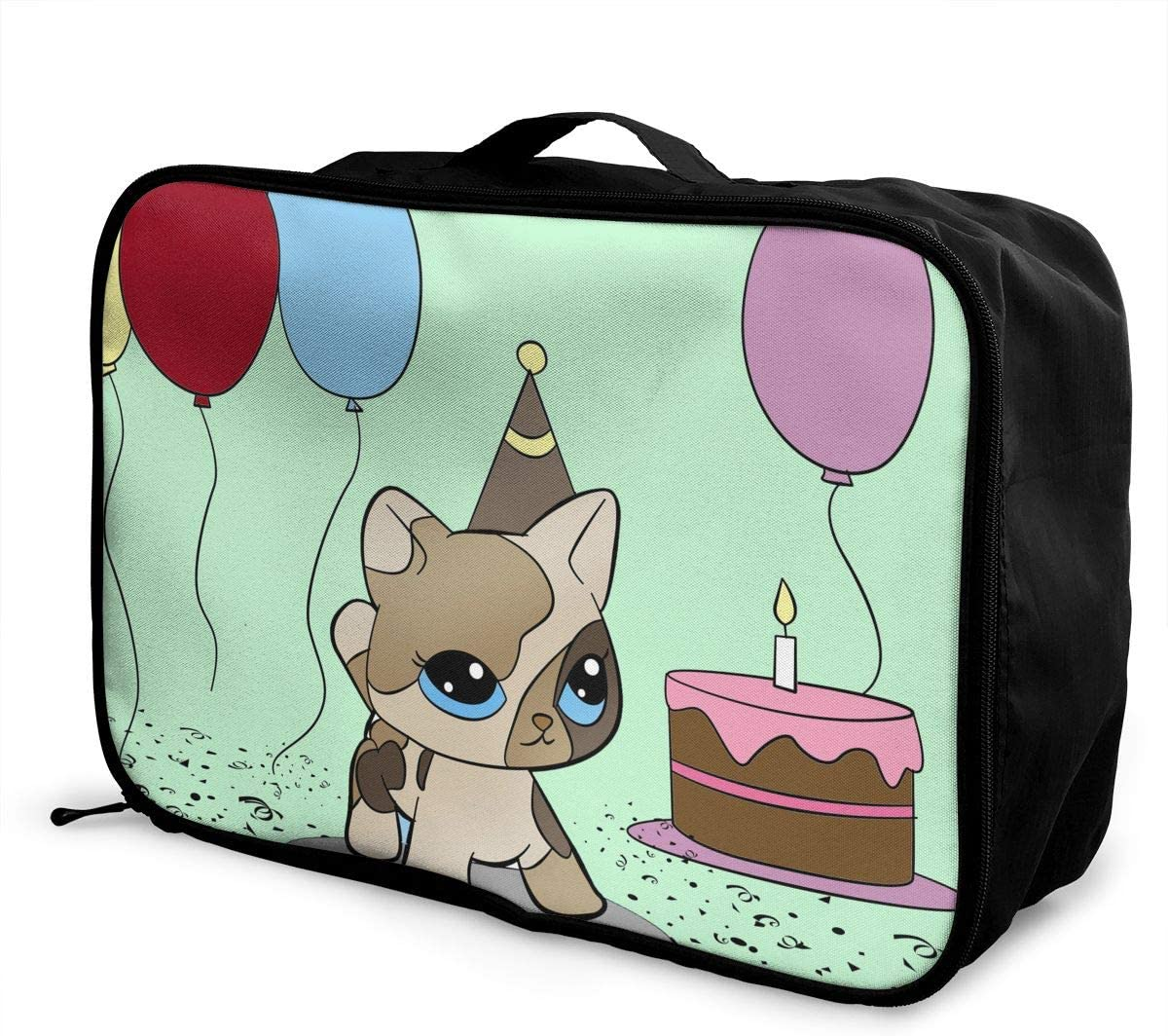 Cat For Birthday Travel Carry-on Luggage Weekender Bag Overnight Tote Flight Duffel In Trolley Handle