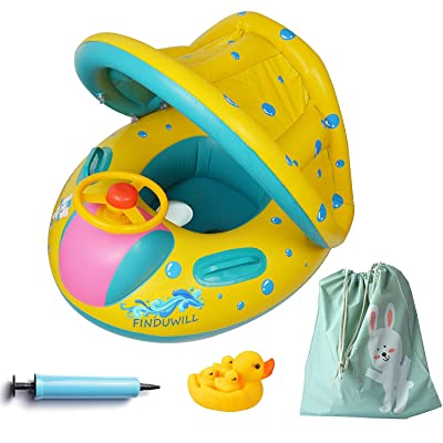 FindUWill Inflatable Baby Float-Pool Swimming Ring with Sun Canopy with Inflator Pump,Waterproof Carry Bag,Duck Toys: Toys & Games