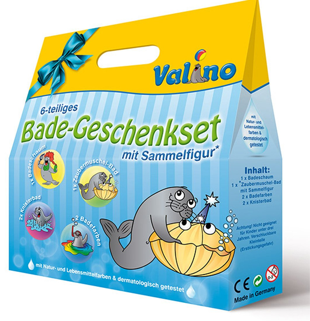 Valino Kinder Badespaß 6 tlg Geschenk set Knisterbad Badefarben uvm 8068