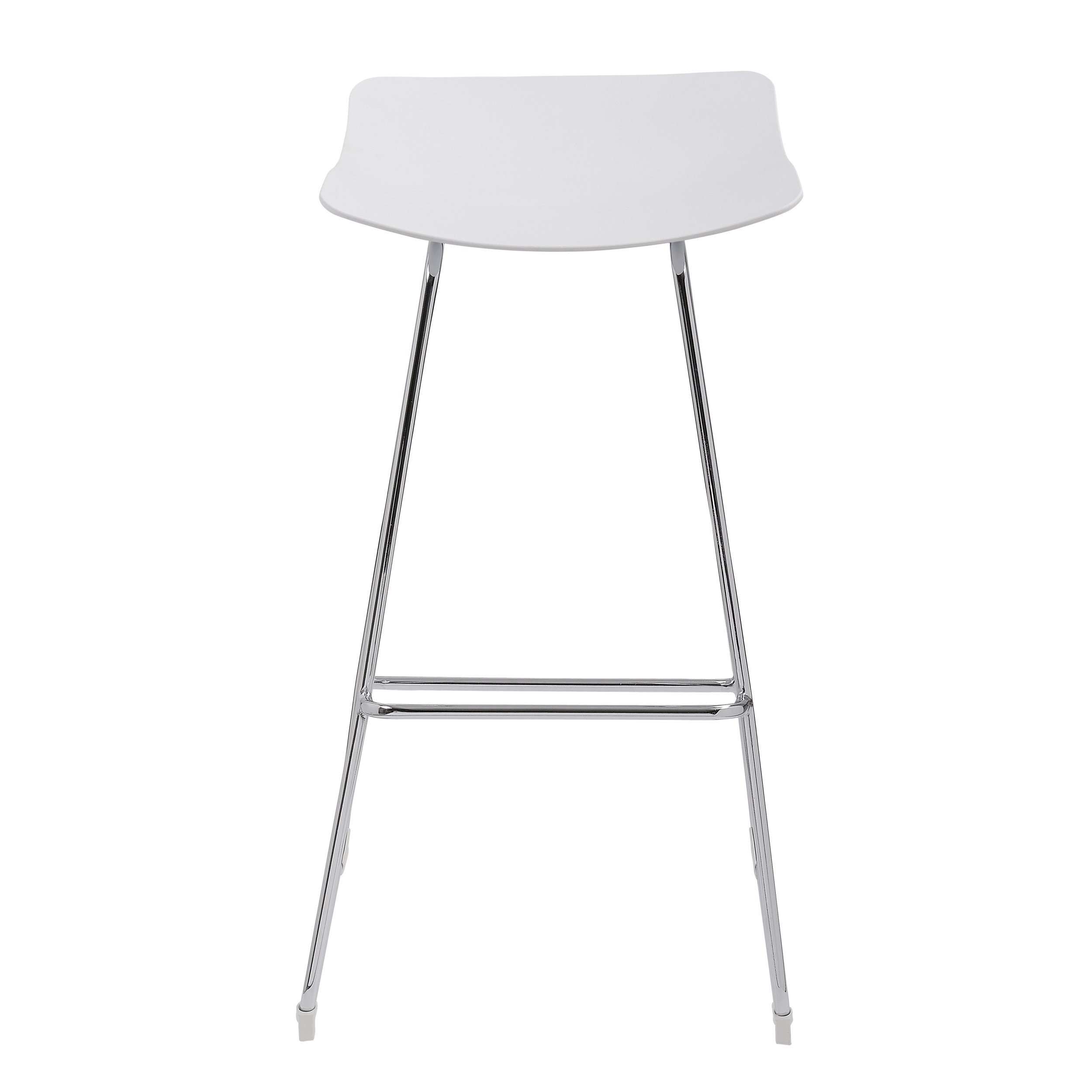 Emerald Home Neo White 30'' Bar Stool with Backless Molded Plastic Seat And Chrome Base, Set of Two by Emerald Home Furnishings