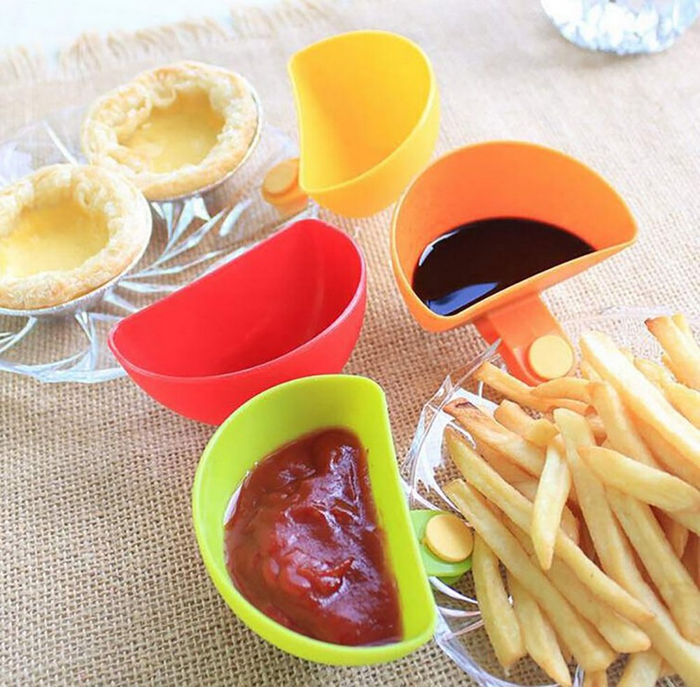 Tomato Sauce Dish Dip Clips Bowl Small Seasoning Dish Plastic Flavored Dish for Salt Vinegar Sugar Flavor Spices Pack of 4 NUOMI