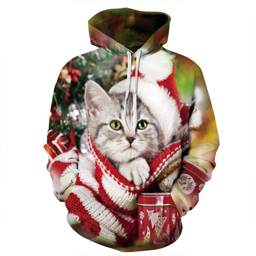 rocicaS Clearance Long Sleeve Fashion Hooded Unisex 3D Print Cat Christmas Sweatshirt Casual Jumper Pullover Blouses Top