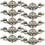 Finer Shop 10Pcs 95mm Thin Type Antique Knobs Furniture Drawer Wardrobe Door Pull Handle - Bronze