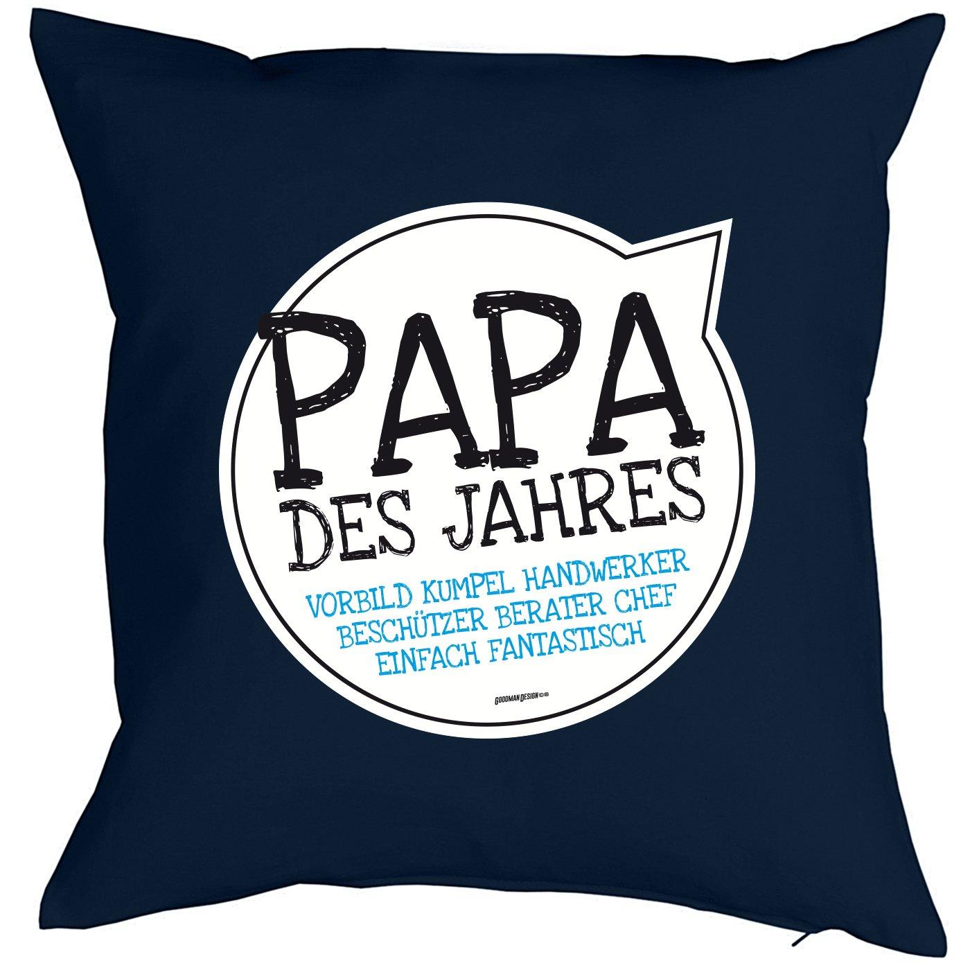 Geschenk f/ür Papa zum Vatertag Kissen mit F/üllung und Urkunde Papa des Jahres Vorbild/… Kissen f/ür V/äter cooles Weihnachten Geburtstag