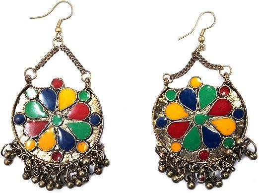 Multicolour BEAD TASSEL EARRINGS  Gypsy Tribal Ethnic Beach Fashion Jewellery