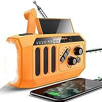 DBSOARS Emergency Weather Radio, 5000mAh Power Bank USB Charger for Cellphone, Hand Crank Solar Radio Bright Flashlight…