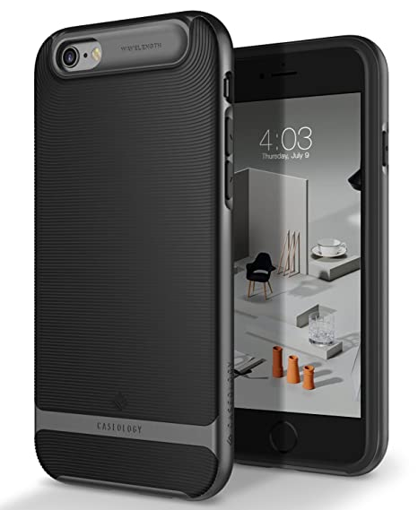 finest selection 5d37e 70d9a Caseology Wavelength Series iPhone 6S Cover Case with Pattern Slim  Protective for Apple iPhone 6S (2015) / iPhone 6 (2014) - Black/Black