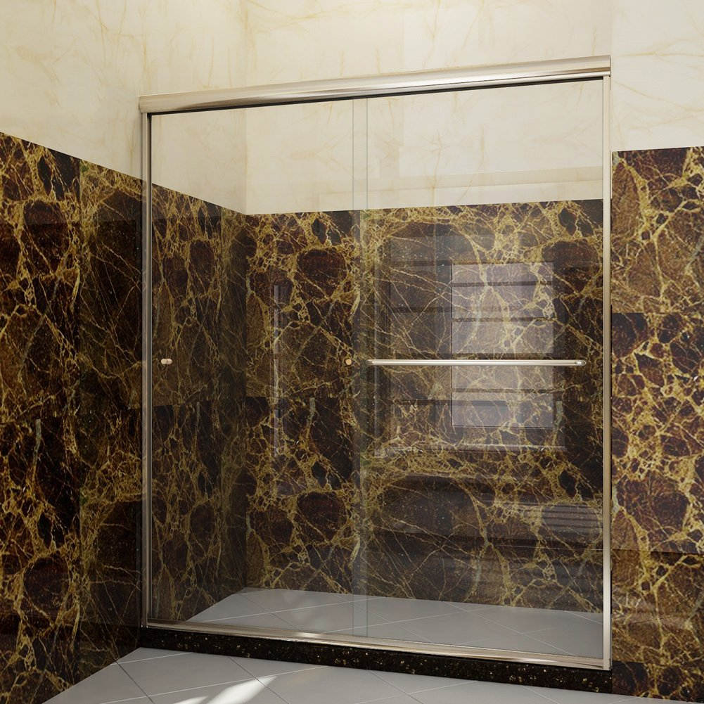 SUNNY SHOWER B020-6072CB Frameless Glass Sliding Shower Door Clear Glass Brushed Nickel Finish 2 Way Sliding, 60'' W x 72'' H