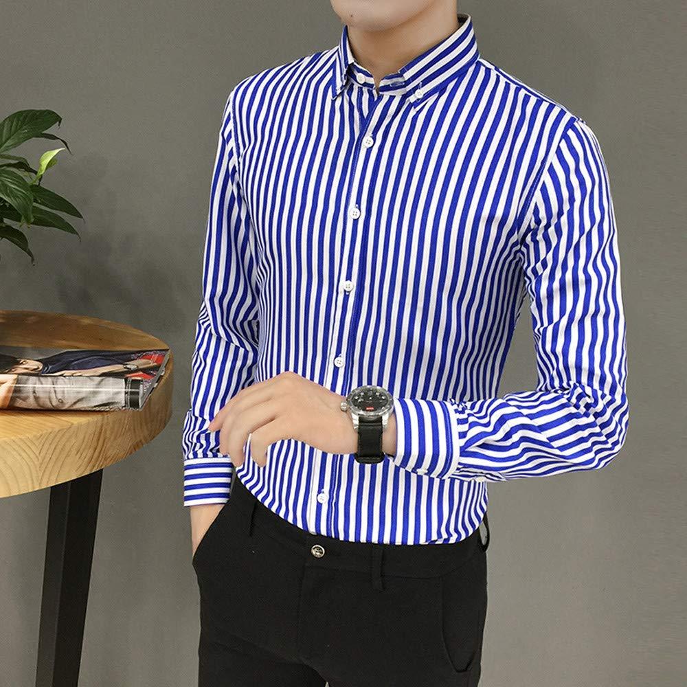 Mens Fashion Long Sleeve Regular Business Casual Vertical Striped Shirt STORTO