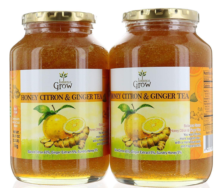 BALANCE GROW HONEY CITRON & GINGER TEA 2.2 LB - PACK OF 4 by Balance Grow