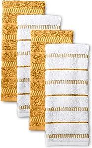 KitchenAid Albany Kitchen Towel Set, Set of 4, Orange Sorbet
