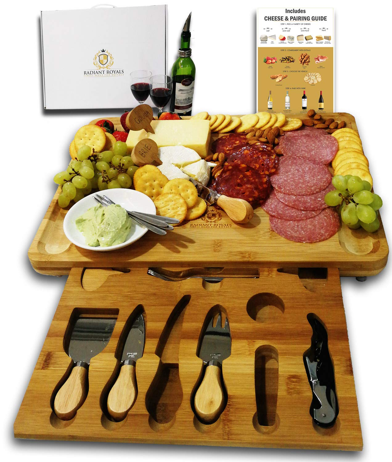Extra Large Bamboo Cheese Board with drawer holding 19-accessories incl knives, forks, markers and Wine Accessories Set | Great gift for Mother's Day, Women, Wedding, Housewarming, Birthday