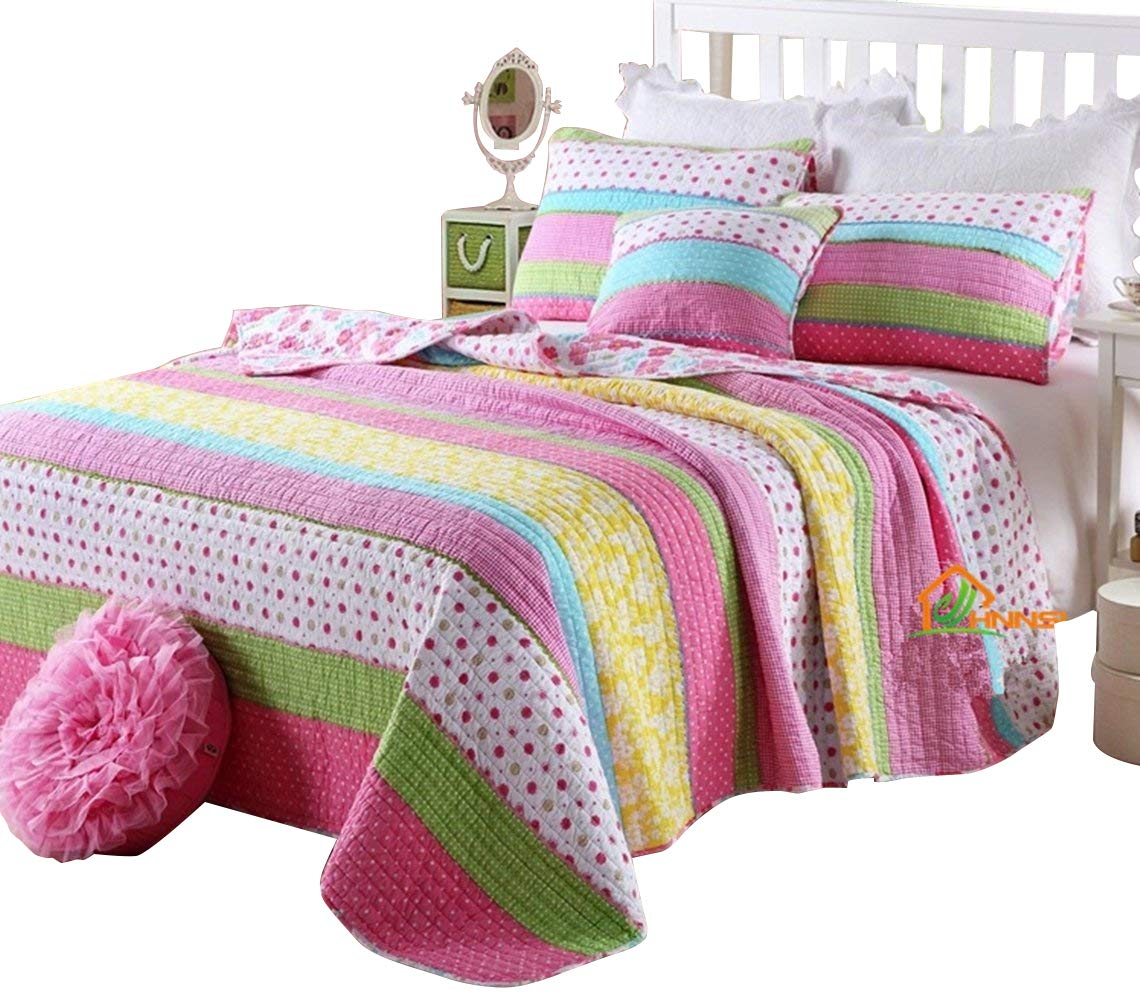 HNNSI Cotton Kids Girls Bedspread Quilt Sets Queen Size 3 Pieces, Pink Dot Striped Comfy Girls Comforter Pretty Girls Bedding Sets by HNNSI