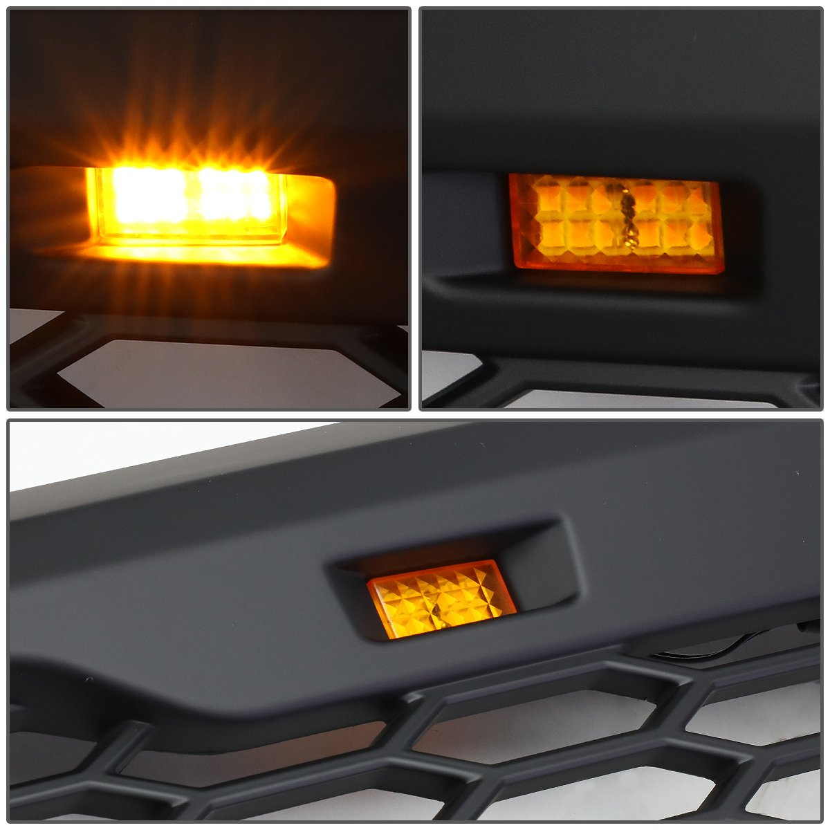 DNA Motoring GRL-F25008MESH-BK Matte Black Mesh Front Grille with Shell with LED For 08-10 Ford F250//F350 SD