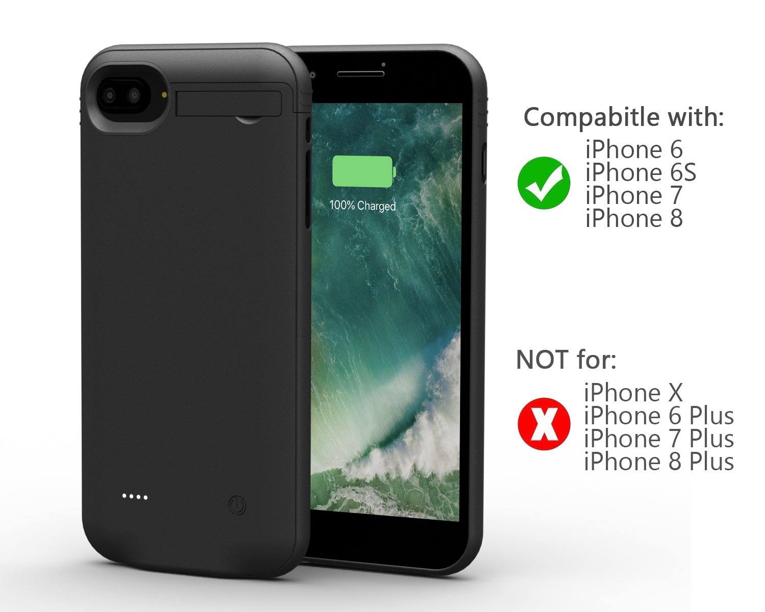 iPhone 8/7/6/6S Battery Case,Attom Tech Light-weight 3000mAh Ultra Slim Portable Charging Case Charger Audio/Data Sync for iPhone(4.7 inch) Extended Battery Bank Juice Pack/Lightning Cable Input Mode