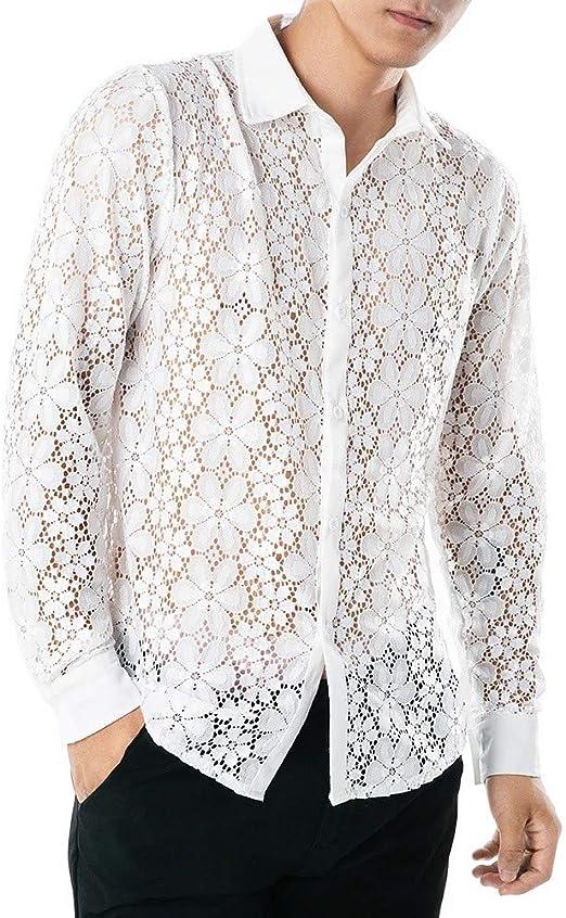 Camisas Botones De Vestir Hombre Sexy De Encaje Flor Semi Transparente Slim Fit De Color Sólido De Manga Larga Collar Casual Fiesta Club Tops Blusa: Amazon.es: Ropa y accesorios