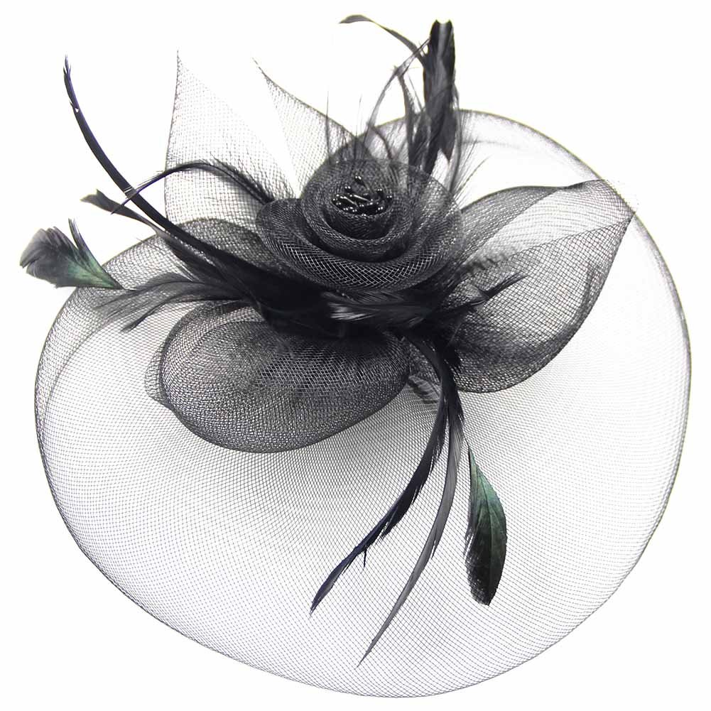 Mwfus Women Feather Fascinator Top Hat Wedding Cocktail Church Veil Headpiece Headwear