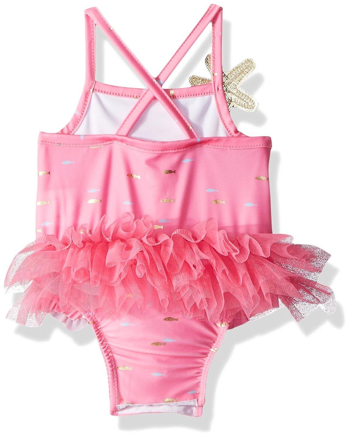 b5ac70d4a2132 Amazon.com: Mud Pie Baby Girls Mermaid Ruffle One Piece Swimsuit: Clothing