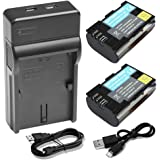 LP-E6 LP-E6N Battery & Charger, BPS 2pcs Rechargeable LPE6 LPE6N Batteries + USB Charger for EOS 80D, 6D, 70D, 7D, 5D Mark IV, 5D Mark III, 5D Mark II, 5DS, 60D, 7D mark II, 7D mark III Digital SLR Cameras