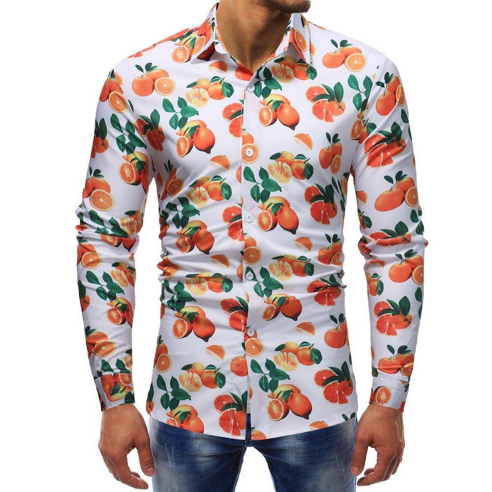 Shirts For Men,Clearance Sale !! Farjing Man Fashion Printed Casual Long Sleeve Slim Shirts Tops(XL,White)