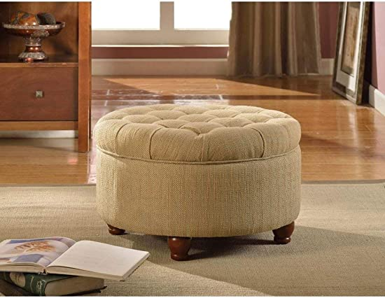 Lift Off Lid Large Storage Capacity Round Storage Ottoman – Upholstery Color Tan