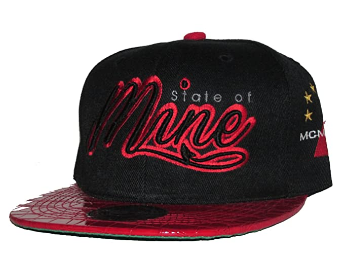 ffa00778aba Image Unavailable. Image not available for. Colour  State of Mine Bk Red  Gator Print Bill Adjustable Mens Streetwear Snapback Hat Cap
