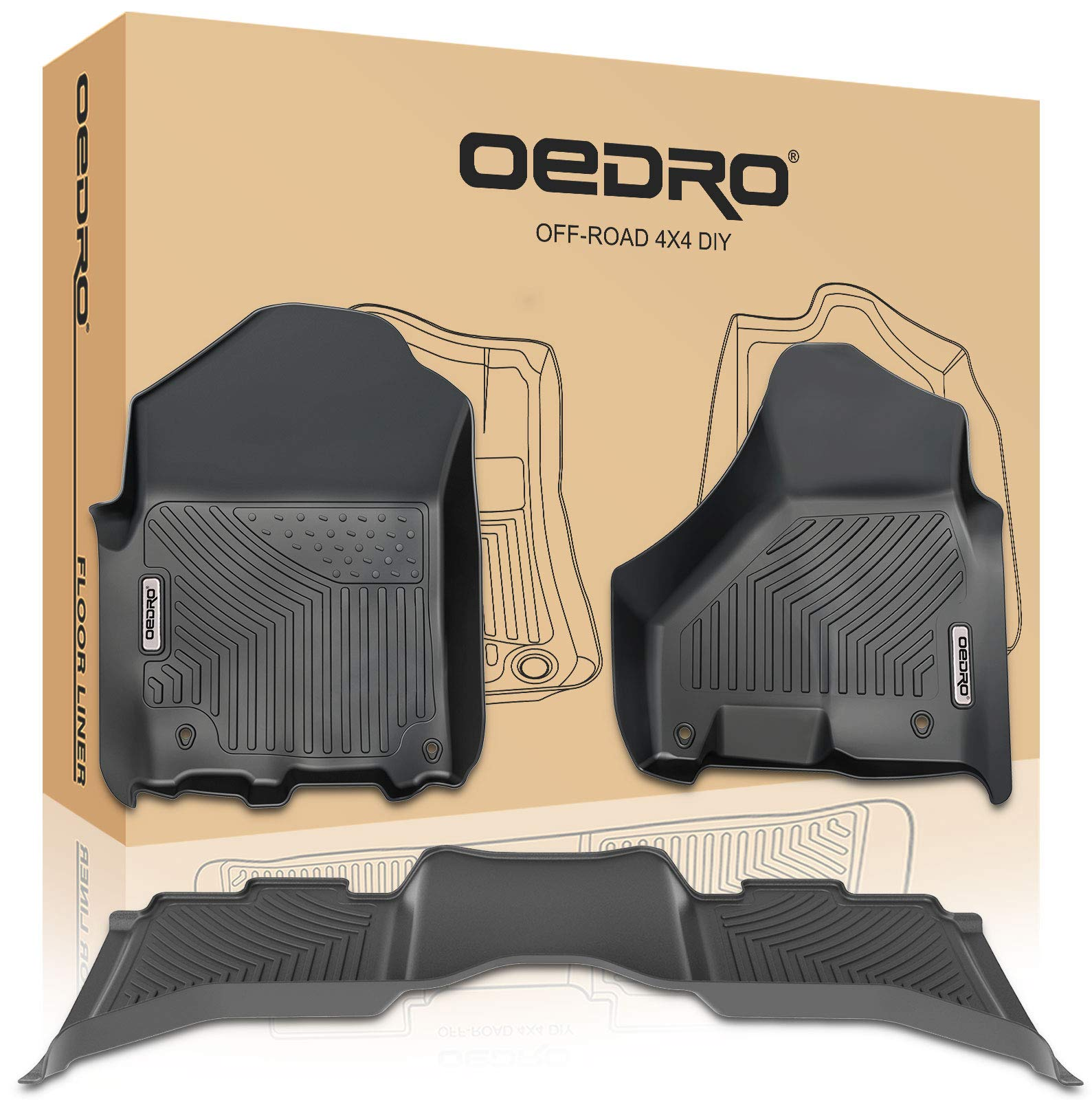 oEdRo Floor Mats Compatible for 2012-2018 Dodge Ram 1500/2500/3500 Crew Cab, Unique Black TPE All-Weather Guard Includes 1st and 2nd Row: Front, Rear, Full Set Liners by oEdRo (Image #1)