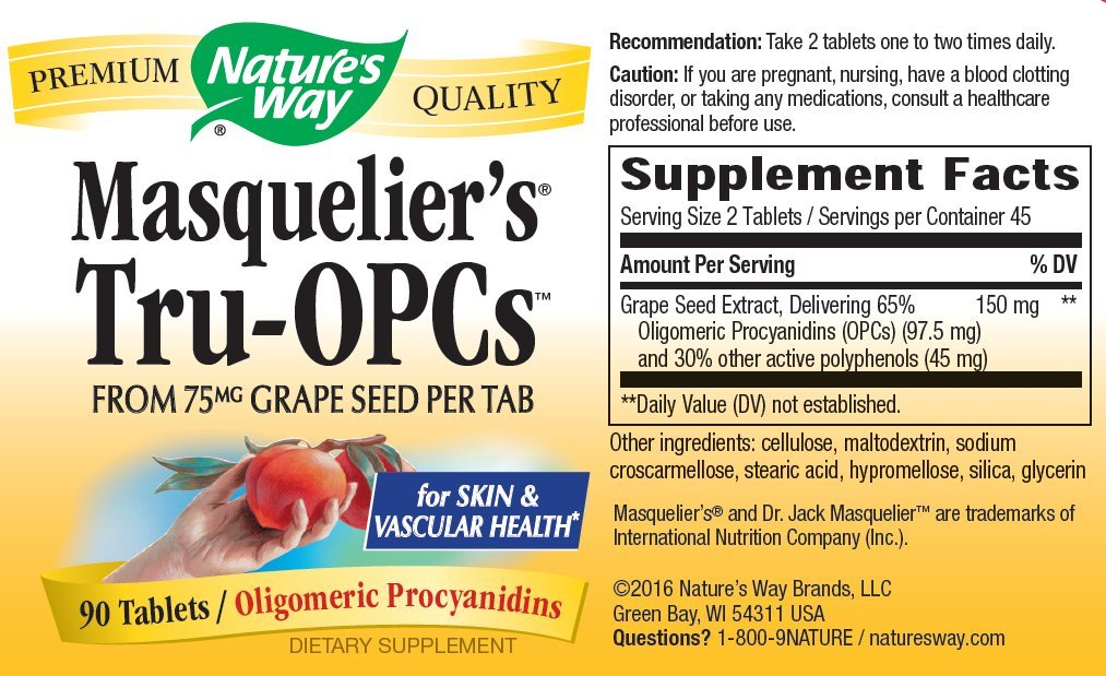 Natures Way Masqueliers True OPC Grape Seed Extract Tablet, 75 Mg - 90 per pack
