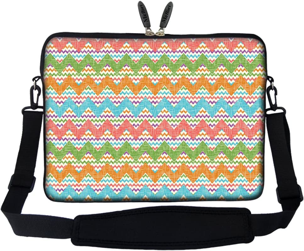 Meffort Inc 15 15.6 inch Neoprene Laptop Sleeve Bag Carrying Case with Hidden Handle and Adjustable Shoulder Strap - Colorful Chevron Pattern