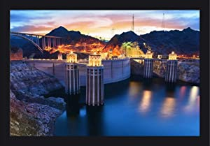 Boulder, Nevada - View of the Hoover Dam at Night with Lights On A-9013182 (24x16 Giclee Art Print, Gallery Framed, Black Wood)