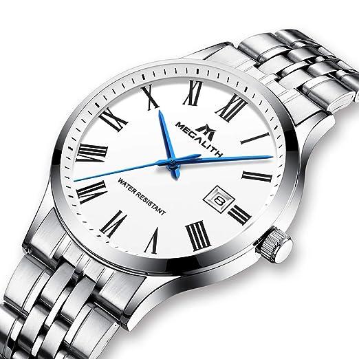 Relojes Hombre Relojes de Pulsera Impermeable Deportivo Lujo de Acero Inoxidable Plata Reloj Simple Fino Analógico Calendario con Numeros Romanos: ...